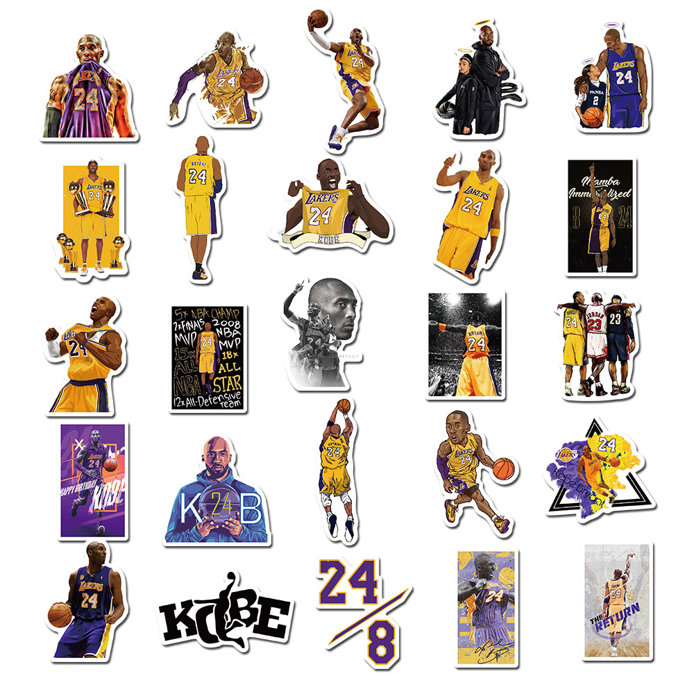50pcs/lot New Basketball Star NO.24 Waterproof Mamba Stickers For Luggage Laptop Phone Skateboard Decal Toys For Boys Kids Fans