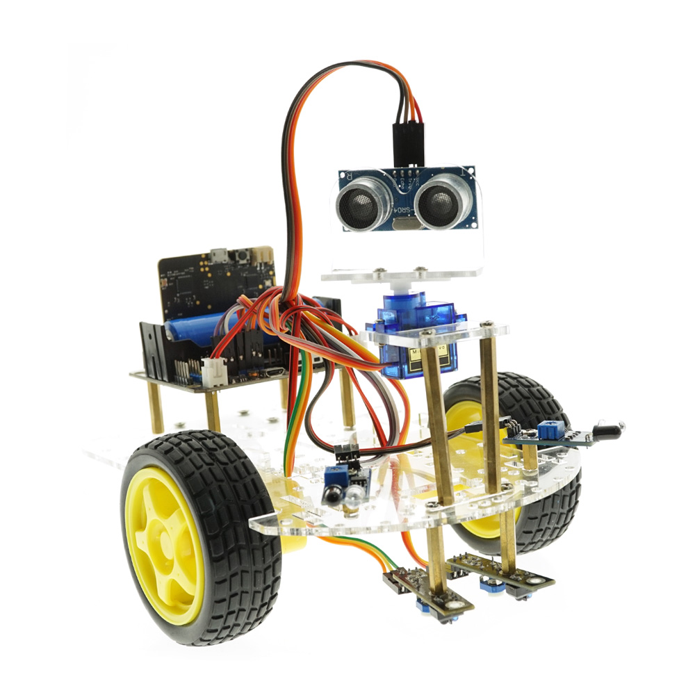 Smart Robot Car Kit Ultrasonic Sensor Line Tracking IR Remote Control For Micro:bit