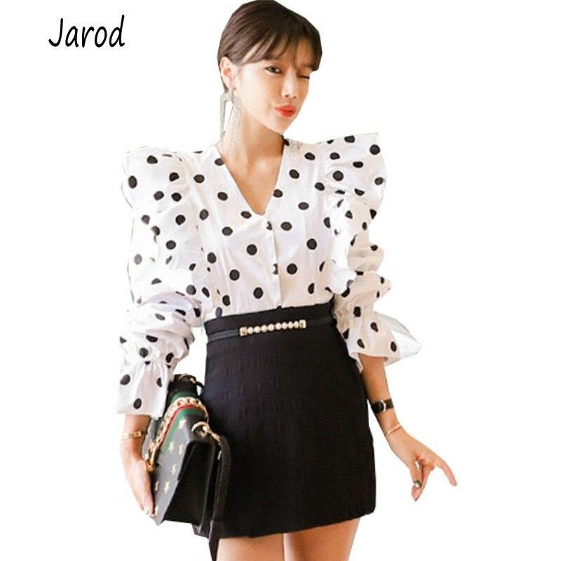 2019 automne femmes 2 pièce ensemble coréen élégant à manches longues à pois volants chemise hauts + noir moulante Mini jupe ensemble