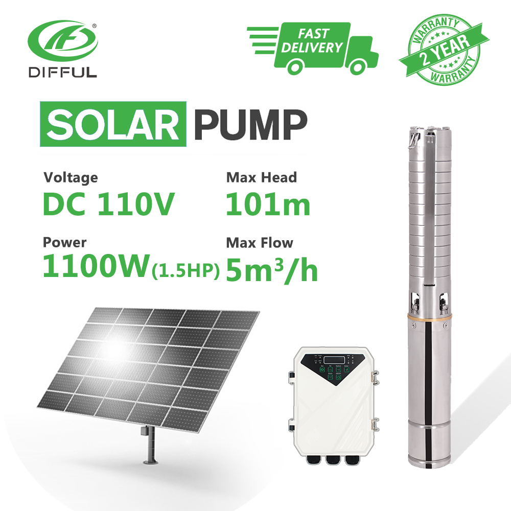 4 DC Deep Well Solar Water Pump MPPT Controller Stainless Steel Impeller Borehole 110V 1.5HP 1100W (Max Head 101m, Flow 5T/H)