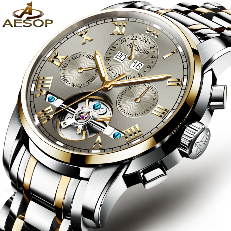 AESOP Automatic Tourbillon Watch  Men's Wrist Skeleton Mechanical Watches Stainless Steel Male Clock Men Relogio Masculino
