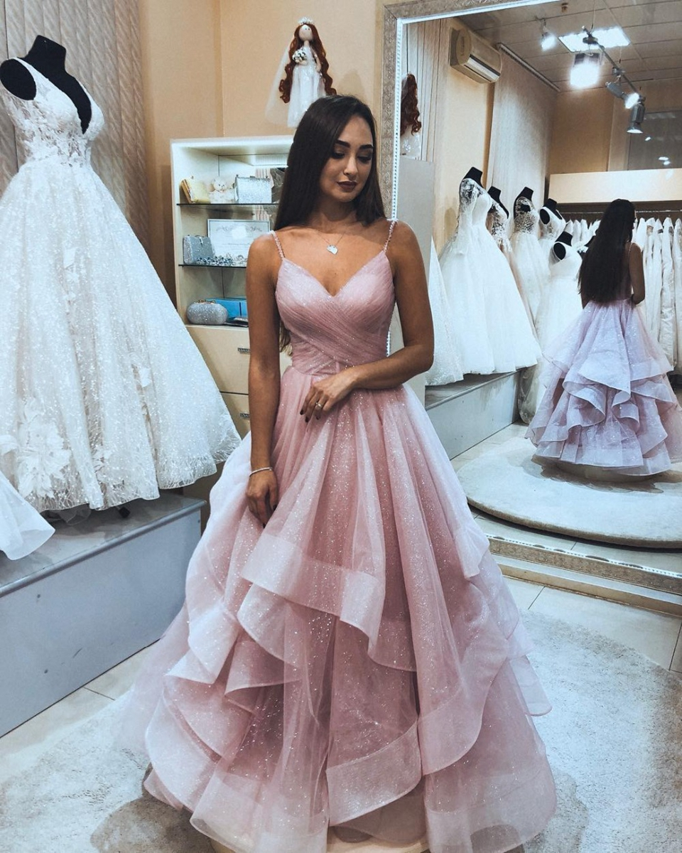 Pink Women Ruffles Prom Dresses 2020 Elegant Long Formal Evening Gowns Spaghetti Straps Sequins Night Party Robe De Soiree