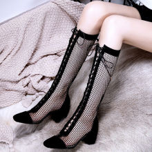 Summer Boots Black Mesh Women's Boots Fashion Pointed Toe Lace-up High Heels Women Transparent Ankle Boots Female Sandals Pumps brand sheep skin leather mesh air pumps fashion ankle boots for women sexy pointed toe cowboy boots woman high heel summer boots
