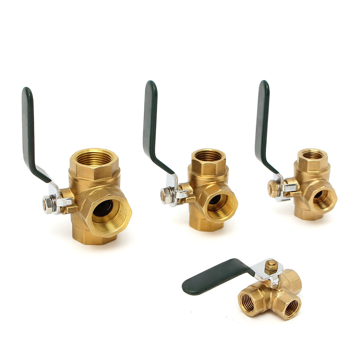XNEMON 1/4 3/8 <font><b>1/2</b></font> 3/4Brass <font><b>Ball</b></font> <font><b>Valve</b></font> Fixed 3 Way Full LType Port Filter Adapter Handle Thread Connector Faucet Value Water image