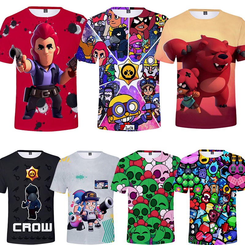 Kids 3T To 16T Children's Clothing Kids T-shirts Tshirt Crow Spike Leon Shelly Tshirt Kids Game Game Stars Shirt Tops