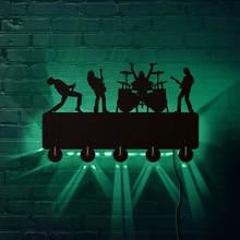 روك باند LED مضيئة جدار السنانير المنزلية ديكور الموسيقى الفرقة متعدد الألوان تغيير الرف معطف مفاتيح حامل هدية ل المغني المعبود