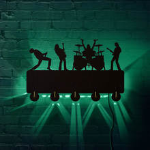 Rock Band LED Luminous Wall Hooks Household Decor Music Band Multi color Changing Rack Coat Keys Holder Gift For Singer Idol