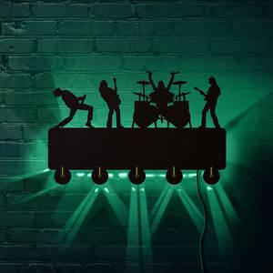 Image 1 - Rock Band LED crochets muraux lumineux décor de ménage bande de musique multicolore porte manteau porte clés cadeau pour chanteur idole