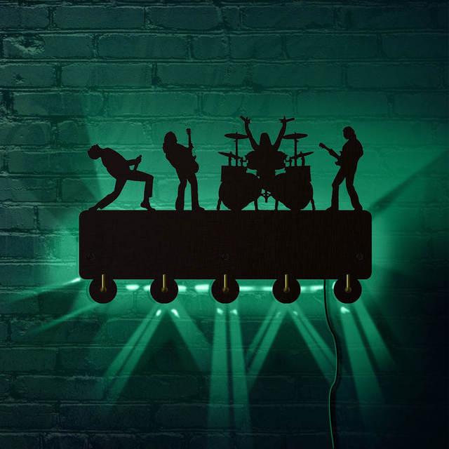 Rock band ganchos de parede luminosos led, decoração doméstica, banda de música, multicolor, casaco, chaveiro, presente para troca singer idol
