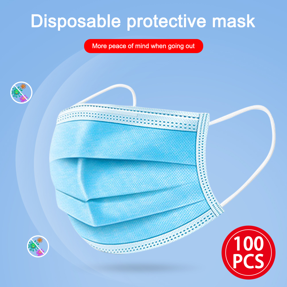 100pcs Antivirus 1 Disposable Mask Virus Nonwove 3 Layer Ply Filter Mouth Face Mask Dust BFE95 Meltblown Mouth Masks