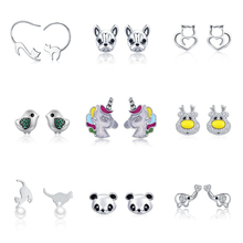 Fashion Stud Earrings Authentic 925 Sterling Silver Animal Trendy Push-back Earrings for Women Cute Metal Fashion Jewelry Gift 4pcs set 925 sterling silver simple love star cookies cz zircon push back stud earrings lady women fashion jewelry wedding gift