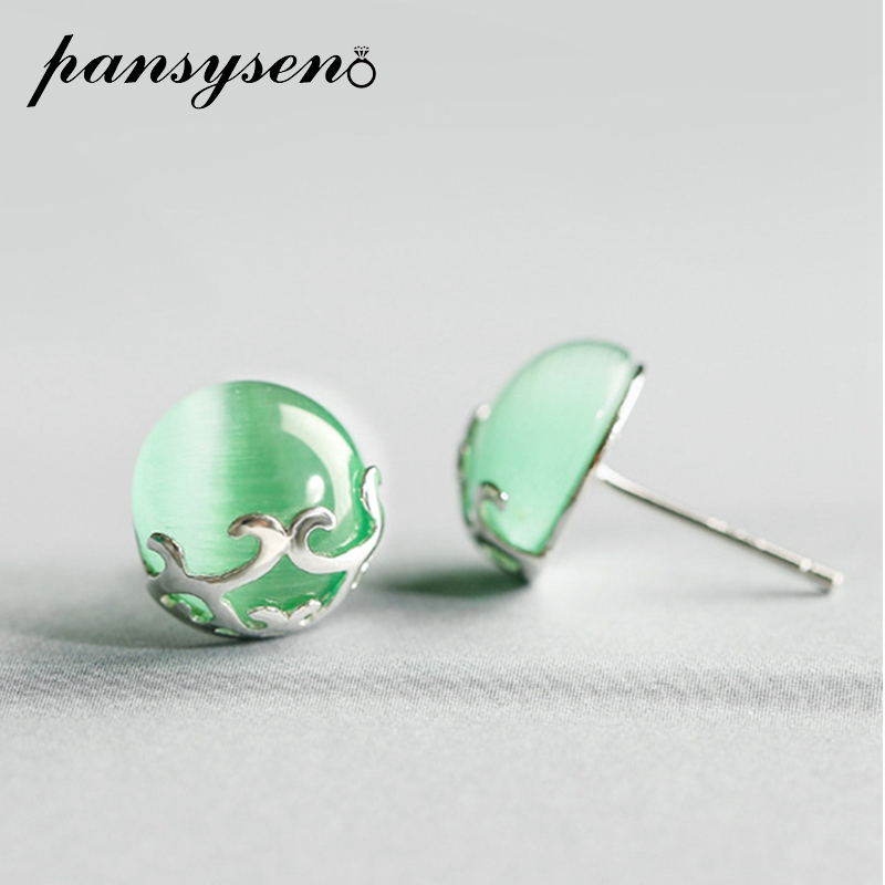 PANSYSEN Top Brand 10MM Round Created Chrysoberyl Silver 925 Jewelry Stud Earrings For Women Green Gemstone Earrings Party Gifts