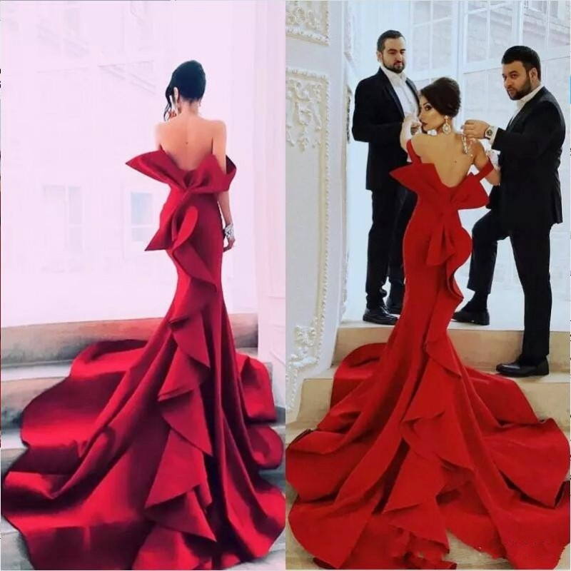 Sexy Tiered Mermaid   Prom     Dresses   Off Shoulder Backless Red Carpet Celebrity   Prom     Dress   Big Bow Women Party Gown