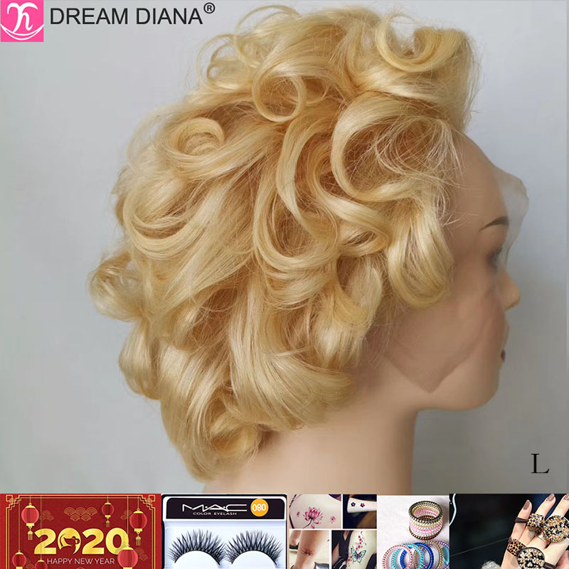 DreamDiana Indian Short Curly Human Hair Wig Blond Wig Lace Front Human Hair 8 Non-Remy 13x4 Lace Front Wig Human Hair Low Ratio