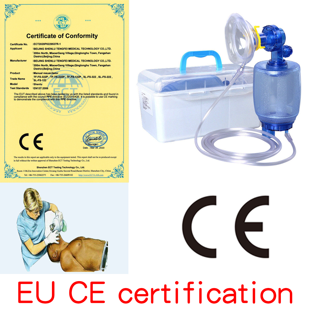 Simple Automatic Respirator Silicone / PVC Manual CPR Airbag Hospital Emergency Breathing Mask