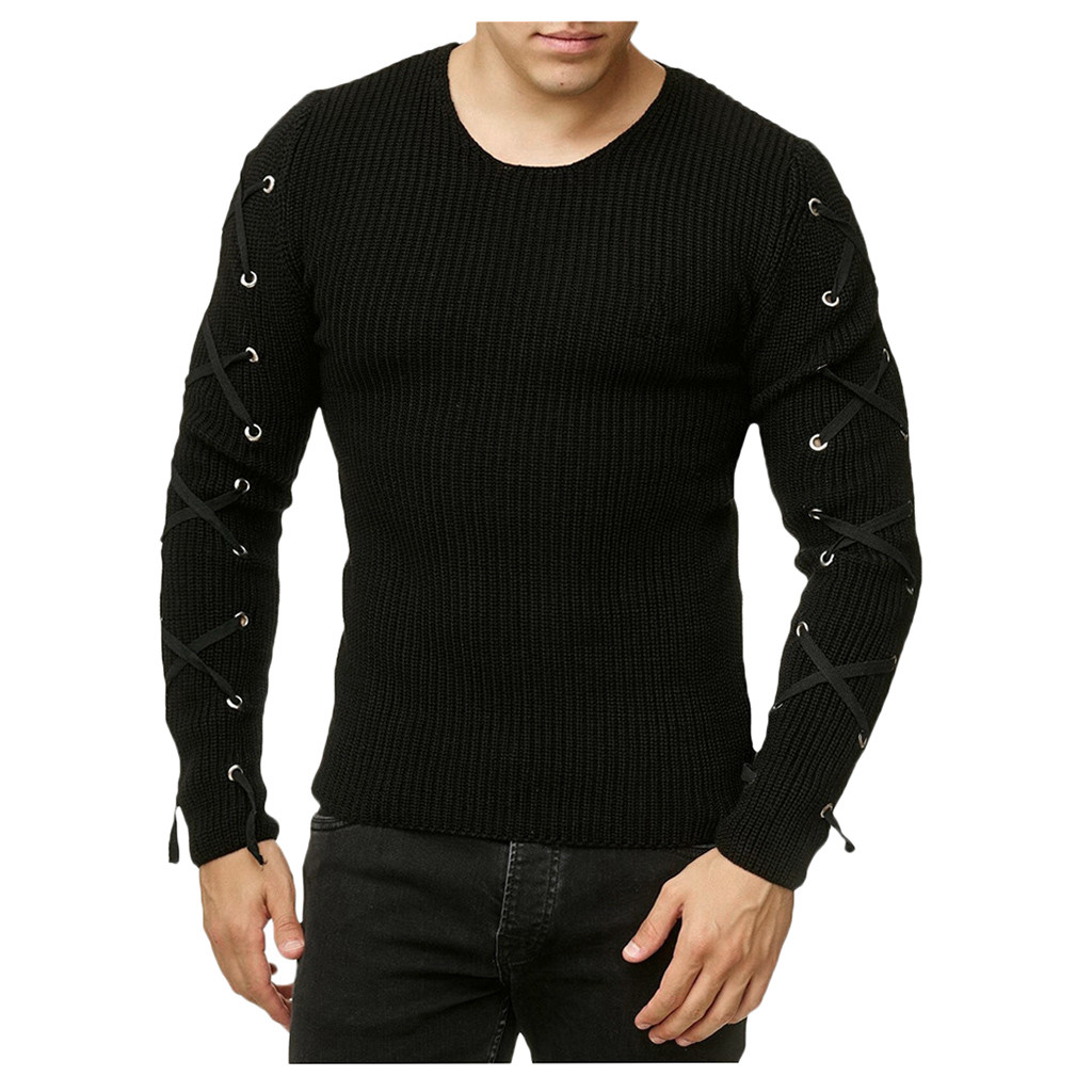 Sweater Men Fashion Autumn Winter Solid Slim O-Neck Pullover Knitted Raglan Bandage Sweater Blouse Top Wholesale Free Ship Z4