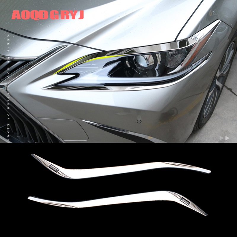 Car Styling for Lexus ES350 ES300h 2019-2020 Stainless Chrome Headlight Eyebrow Moulding Trim Strips 2pcs