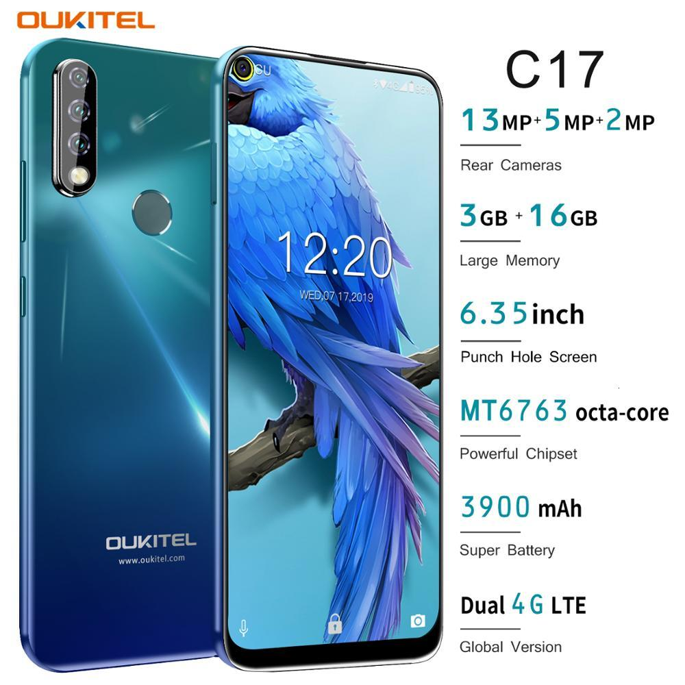 OUKITEL C17 Triple Camera android 9.0 4G smartphone MT6763 Octa Core 3GB RAM 16GB ROM fingerprint Face ID 3900mAh cellphone