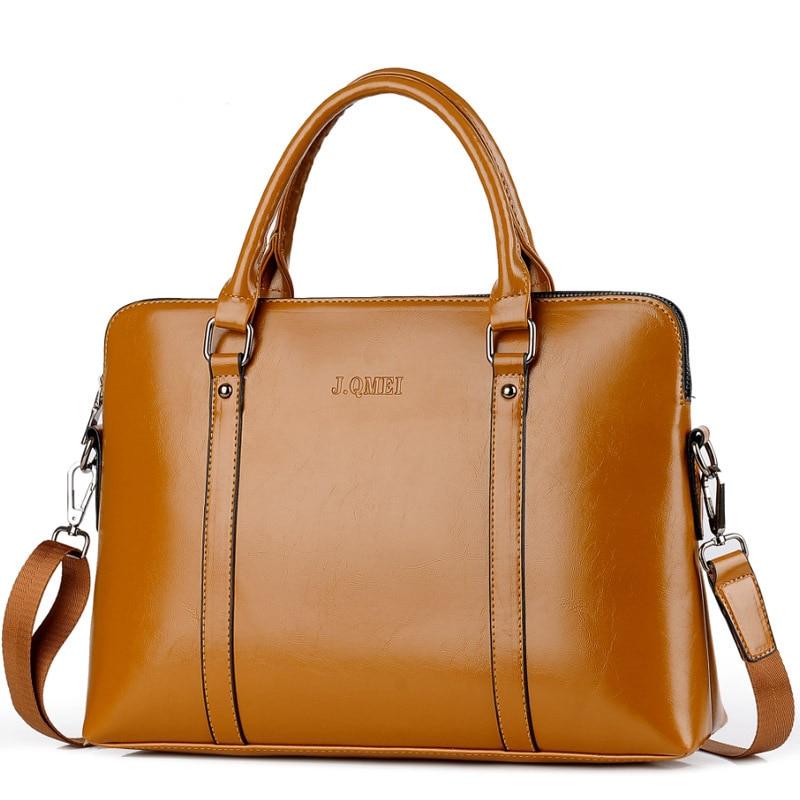 Vintage Women Briefcase Laptop Handbag 14 15.6 Inch Large Capacity Pu Leather Shoulder Laptop Bag For Woman Tote Waterproof