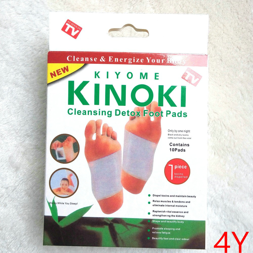 Retail 6 Boxes Dropship 4Y Cleansing Detox Foot Kinoki Pads Cleanse Energize Your Body(1lot=6Box=60pcs Patches + 60pcs Adhesive)
