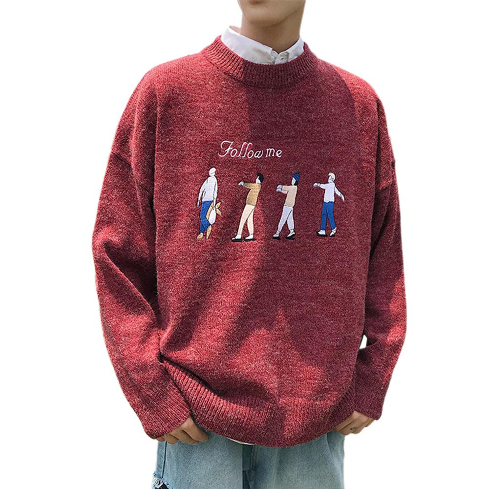 2019 New Autumn Winter Men Sweater Knitting Wool Sweater Fashion Crew Neck Follow Me Person Couple Loose Pullover Male Tops