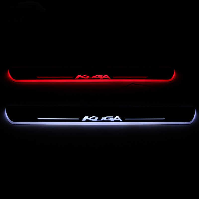 SJ Custom Fit Trim Pedaal Auto Exterieur Onderdelen LED Instaplijsten Scuff Plaat Auto Accessoires licht Voor Ford Kuga 2012 2013 14 15-2018