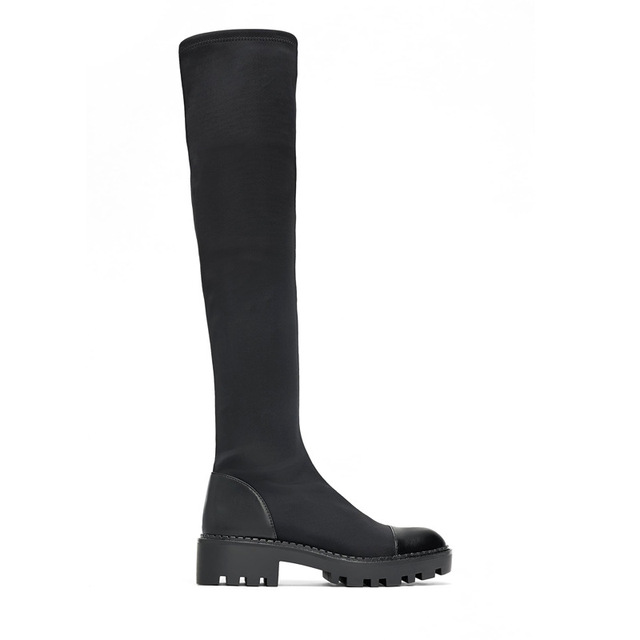 Same DesignWomen's over-the-knee Boots Elastic Slim Boots 2020 Winter  New Round  Toe Zipper High Boots 5