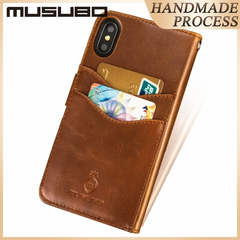 Musubo Luxus Ledertasche für iPhone 11 Pro Max XS MAX XR X 6s 6 Plus Cover Fit Magnet Autohalter für Samsung Galaxy S8 Plus