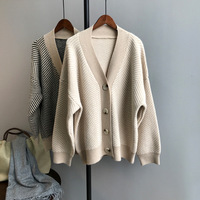 Mooirue Autumn 2019 Femme Sweet Knitted Cardigan Long Stripe Cardigan Elastic Sweater Feminino Grey Tops