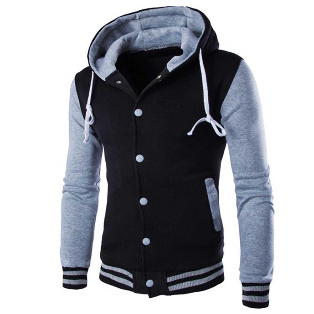 Ceket erkekler Hoodie moda kontrast beyzbol giyim rahat S lim düğme hırka cep uzun kollu ceket parka erkekler noel hediyesi