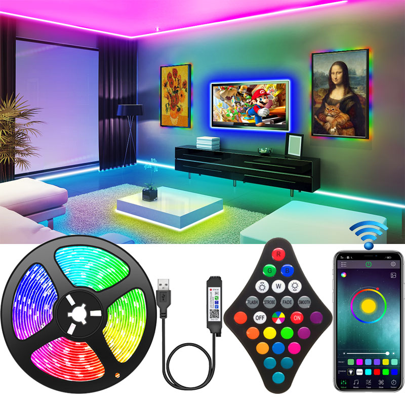 query RGB Led Strip Light 2835 USB BT Led Luces Tape Diode Ribbon Adapter Bluetooth-compatible For Room TV Backlight Kitch