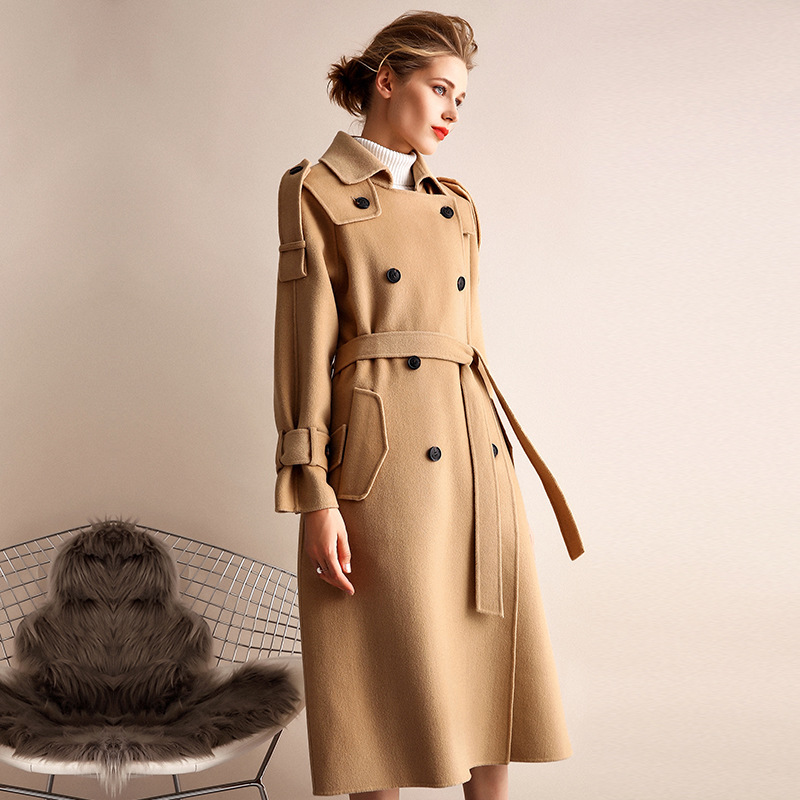 Abrigo de invierno de mujer estilo gabardina de camel de doble cara de lana de Cachemira prendas de vestir 2019 Otoño de talla grande abrigos para mujer largo envío gratis - 3