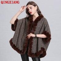 2019 Plus Velvet Poncho Faux Fox Fur Neck Coat Women Loose Cardigan Winter Warm Thick Outwear Short Batwing Sleeves Big Cloak