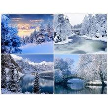 Алмазная живопись пейзажем полностью квадратная вышивка зимний
