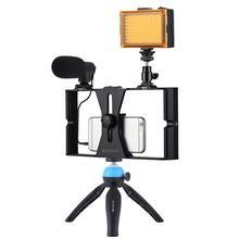 PULUZ Smartphone Video Rig Filmausrüstung Aufnahme Griff Stabilisator Halterung für iPhone, Galaxy, Xiaomi, LG und Andere Smartphones