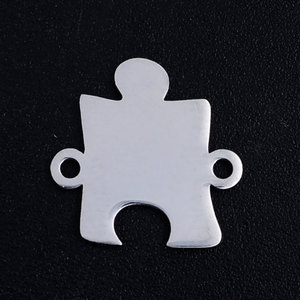 10pcs/Lot Jigsaw Puzzle Stainless Steel Jewelry Pendant DIY Charms High Polished Necklace Making Jewelry Accessories(China)