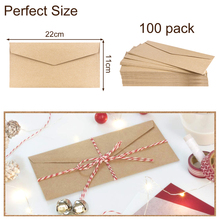 100pcs 4.3x8.6 Craft Paper Envelopes Vintage European Style Post Pack Boxes Packaging Kraft Message Card Letter