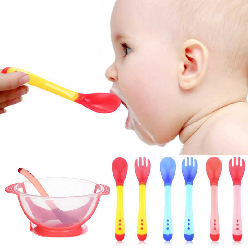 Baby Safety Feeding Temperature Sensing Spoon Baby With Suction Cup Assist Food Bowl Utensils  kids cutlery Feeding Baby Spoons