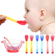 Baby Safety Feeding Temperature Sensing Spoon Baby With Suction Cup Assist Food Bowl Utensils kids cutlery Feeding Baby Spoons(China)