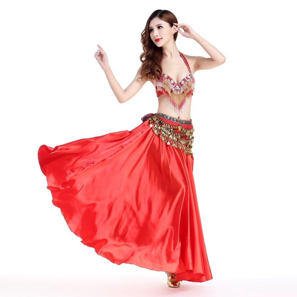 Belly Dance Satin Full Circle Halloween Skirt Shiny Fancy Casual Waist Skirt For Flamenco Cha Cha