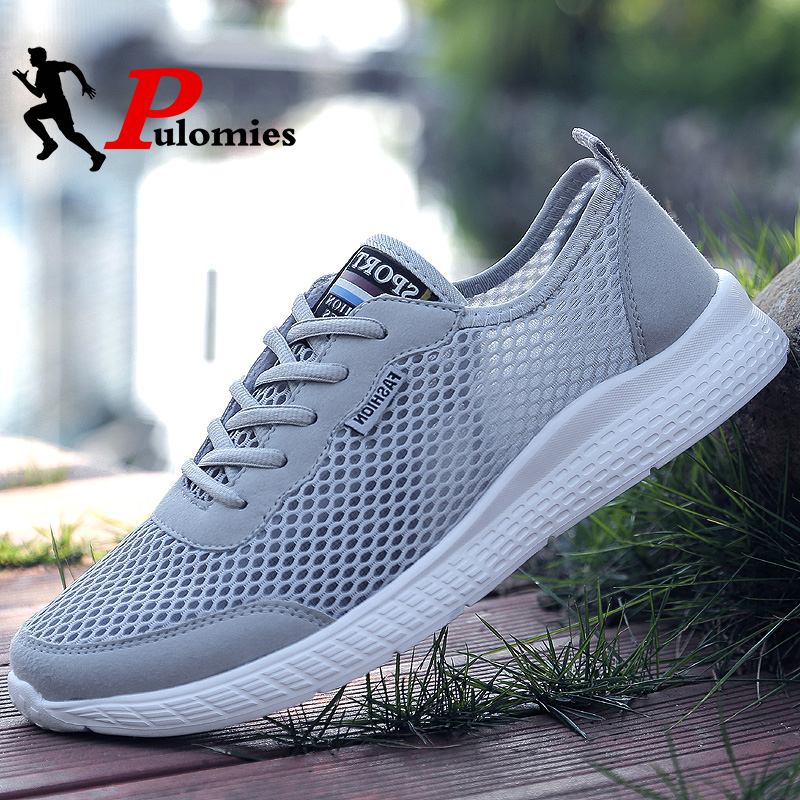 PULOMIES 2020 Summer Men Casual Shoes Men Tennis Shoes Breathable Mesh Sneakers Men Sport Shoes Light Shoes Couple Shoes 48 Size
