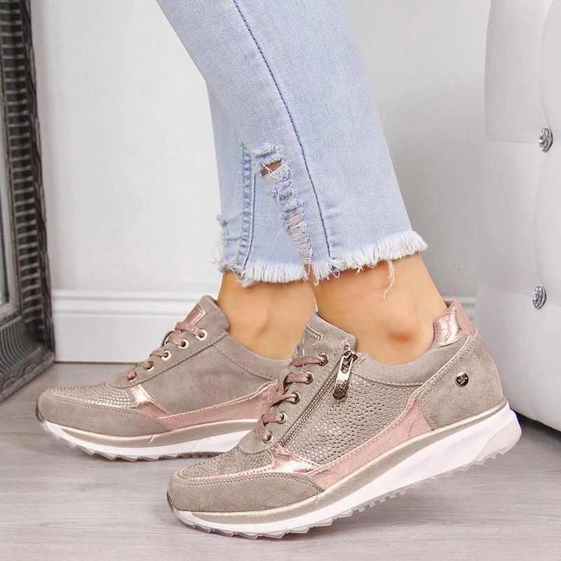Kadın ayakkabı bayanlar elastik kalınlaşmak topuk koşu ayakkabıları fermuarlı deri platformu eğitmenler Tenis Feminino 2019 Zapatos De Mujer