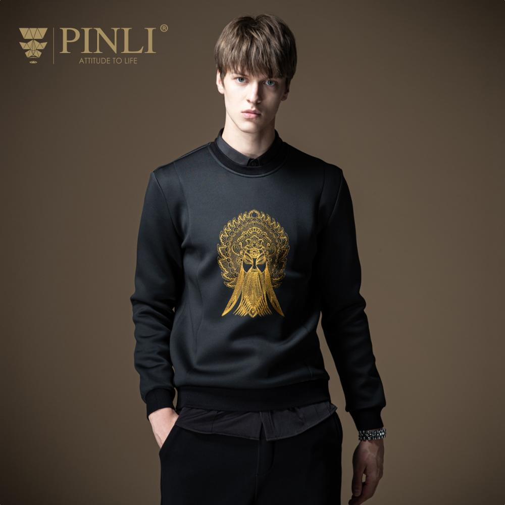 Pinli 2020 Autumn New O-neck Slim Peking Opera Embroidered Fashion Casual Elasticity Men Sweater Coat Clothe Hot Sale B201409050  1