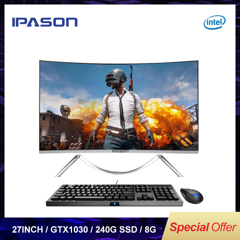 IPASON All In One Gaming PC V10 27 inch Intel G5400 1030 2G DDR4 8G RAM 240G SSD Non-Integrated 1030 2G Gaming Computer PC