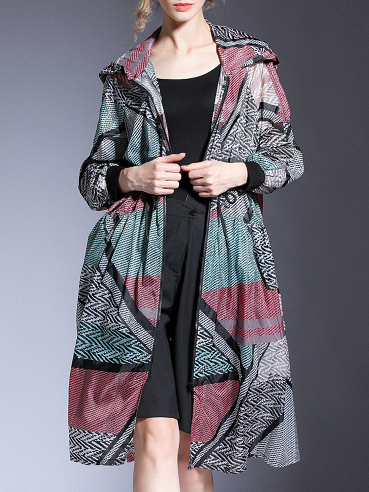 Long-Sleeve Jacket Women Coat Fashion EAM Summer Hooded Spring Big-Size New Thin Fit-Pattern