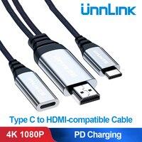 Scollega il cavo compatibile da tipo C a HDMI convertitore FHD 4K 1080P PD ricarica per interruttore s8 s9 s10 p20 p30 mate20