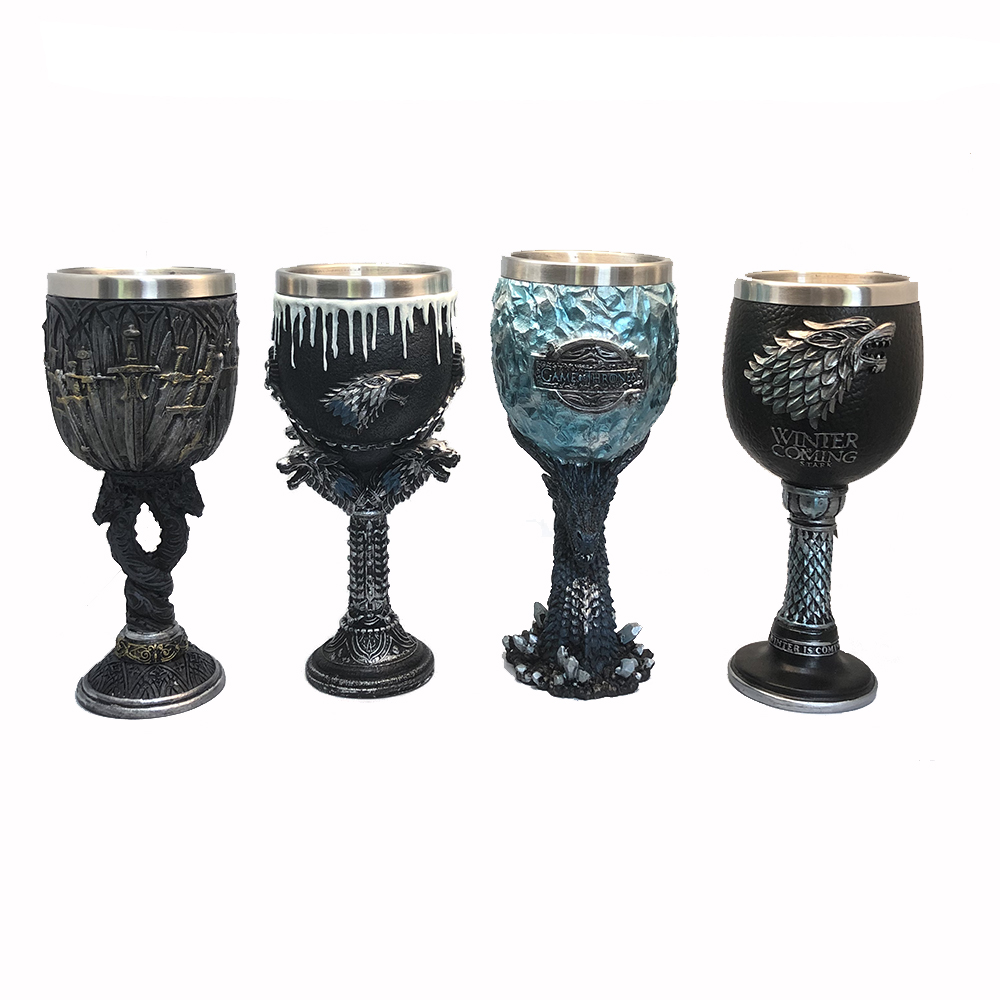 Game of Thrones Goblet Stainless Steel Resin 3D Sword Cluster Beast Head Blue Dragon Knight Sword Coffee Beer Goblet Drinkware