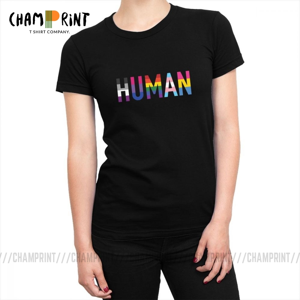 Women Human LGBT <font><b>T</b></font>-<font><b>shirts</b></font> Gay Pride <font><b>Bisexual</b></font> Lesbian Rainbow <font><b>T</b></font> <font><b>Shirts</b></font> Harajuku Cotton Tops Tees Korean Female Clothing Graphic image