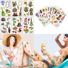10 Sheet Hawaiian Tattoo Sticker Hawaiian Party Coconut Flamingo Decoration Summer Pool Party Waterproof Temporary Fake Tattoo