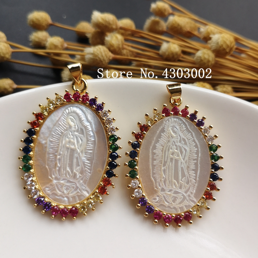 Image 2 - 10pcs/lot Micro Pave AAA CZ Natural Virgin of Guadalupe Mother of  Pearl Shell Pendant Guadalupe Pearl Shell MOP Charms for giftPendant  Necklaces